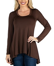 Long Sleeve Flared Tunic Top For Women