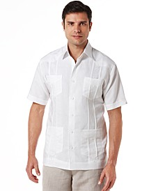 Men's Big and Tall Embroidered Panel 4-Pocket Guayabera Shirt