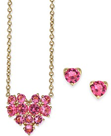 """Crystal Heart Pendant Necklace & Stud Earrings Set, 16"""" + 1"""" extender, Created For Macy's"""