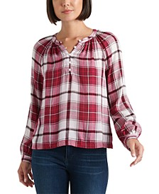 Jessica Plaid Popover Top
