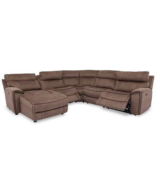 Furniture Hutchenson 5-Pc. Fabric Chaise Sectional with 2 Power Recliners