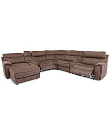 Hutchenson 7-Pc. Fabric Chaise Sectional with 2 Power Recliners and 2USB Consoles