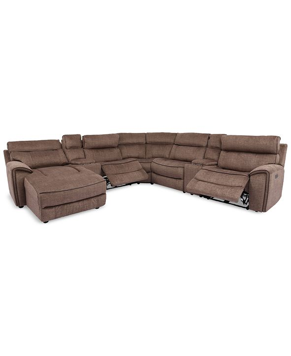 Furniture Hutchenson 7-Pc. Fabric Chaise Sectional with 2 Power Recliners and 2 Consoles