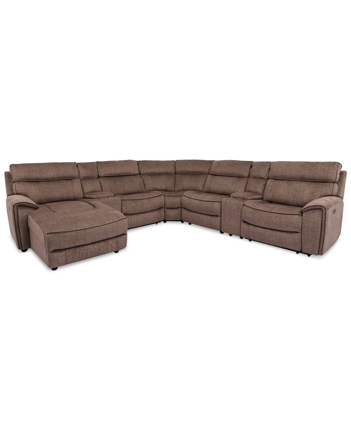 Furniture - Hutchenson 7-Pc. Fabric Chaise Sectional with 3 Power Recliners and 2 Consoles