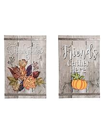Thanksgiving Greeting Sign - Set of 2