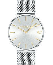 Men's Charles Stainless Steel Mesh Bracelet Watch 36mm, Created for Macy's