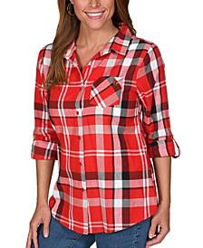 UG Apparel Women's Louisville Cardinals Flannel Boyfriend Plaid Button Up Shirt