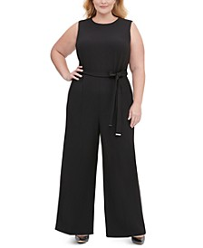 Plus Size Sleeveless Belted Wide-Leg Jumpsuit