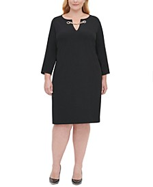 Plus Size Chain-Trim Sheath Dress