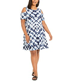 Plus Size Cold-Shoulder Dress, Created For Macy's