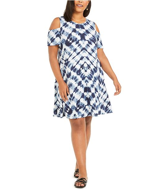 Plus Size Cold-Shoulder Dress, Created For Macy\'s