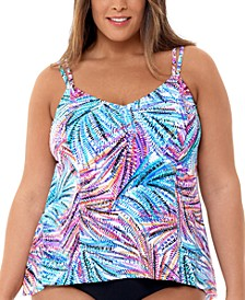 Plus Size Palmalicious Printed Princess-Seam Tankini Top, Created for Macy's