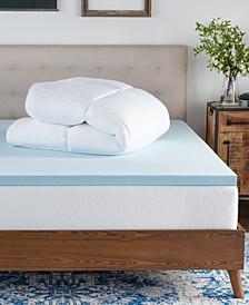 Pillow Top and Gel Memory Foam Mattress Topper, Queen