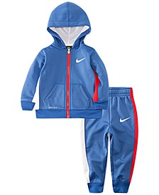 Baby Boys 2-Pc. Therma Fleece Colorblocked Zip Hoodie & Jogger Pants Set