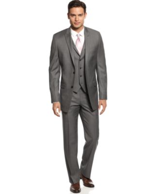 Alfani Mid-Grey Stepweave Slim-Fit Suit Separates - Suits & Suit