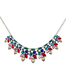 """Silver-Tone Multicolor Crystal Statement Necklace, 16"""" + 2"""" extender"""