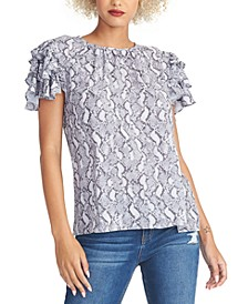 Isabela Printed Ruffled-Sleeve Top