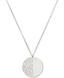 """Silver-Tone Pavé Stone 17"""" Pendant Necklace"""