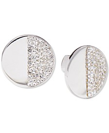 Silver-Tone Pavé Stone Stud Earrings