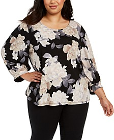 Plus Size Floral-Print Blouson-Sleeve Top