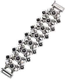 Hematite-Tone Crystal & Stone Statement Bracelet
