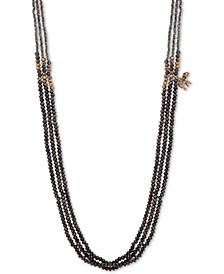 "Gold-Tone Pavé Elephant Charm 36"" Beaded Strand Necklace"