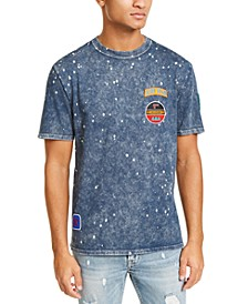 Men's Acid-Washed Embroidered Patch T-Shirt