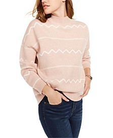 Printed Mock-Neck Pullover Sweater