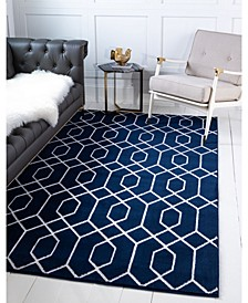 Glam Mmg001 Navy Blue/Silver 5' x 8' Area Rug