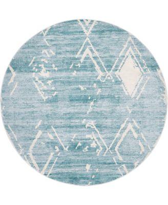 Carnegie Hill Uptown Jzu006 Turquoise 8' x 8' Round Rug