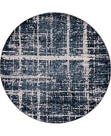 Lexington Avenue Uptown Jzu003 Navy Blue 8' x 8' Round Rug