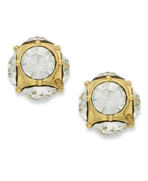 kate spade new york Earrings, 12k Gold-Plated Crystal Stud Earrings
