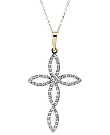 14k Gold Necklace, Diamond Accent Open-Work Cross Pendant