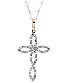 14k Gold Necklace, Diamond Accent Open-Work Cross Pendant