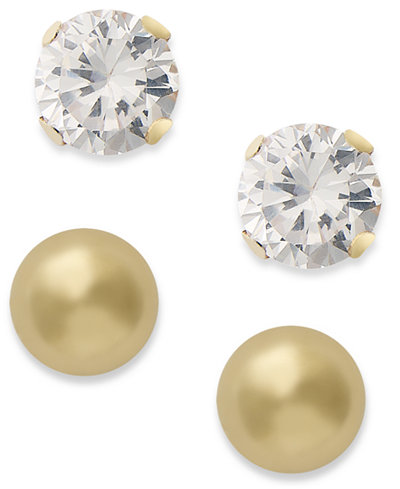 10k Gold Earring Set, Cubic Zirconia (7/8 ct. t.w.) and Ball Stud Earring Set