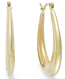 10k Gold Earrings, Oval Hoop Earrings