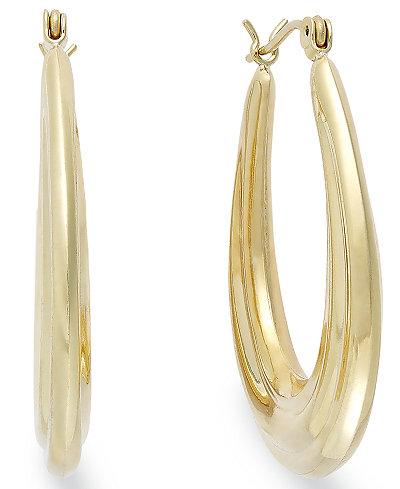 10k Gold Earrings, Oval Hoop Earrings