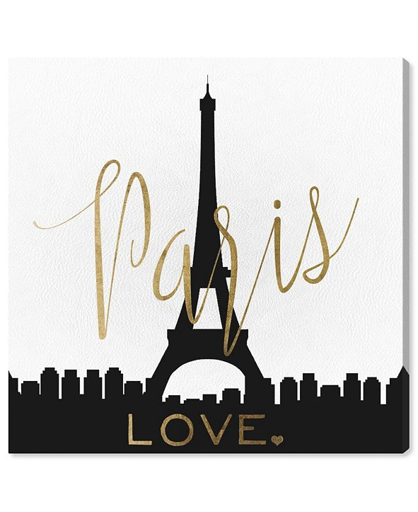 """Oliver Gal Paris Love Gold and Leather Canvas Art, 16"""" x 16"""""""