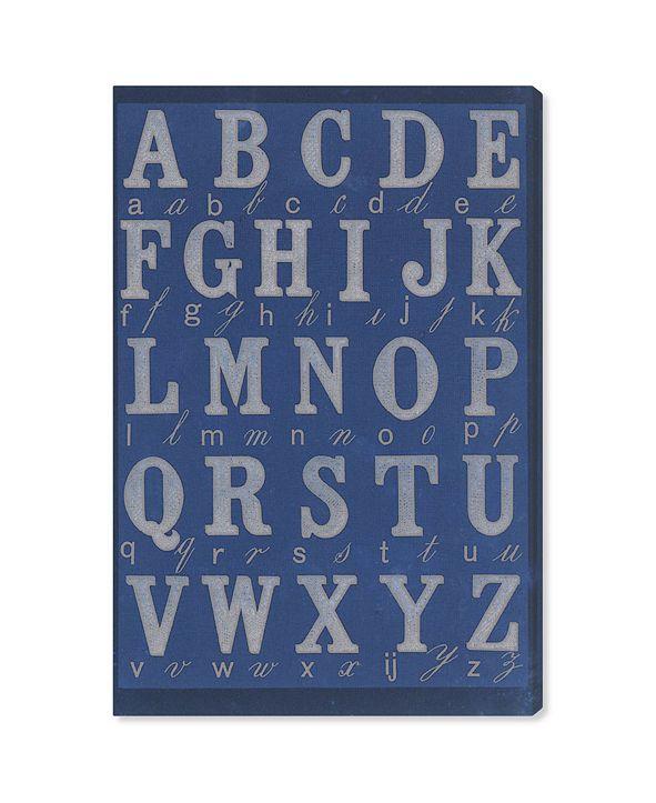 """Oliver Gal La Cursive Bleu Canvas Art, 16"""" x 24"""""""