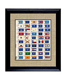"""U.S. State Flag Stamp Sheet in Wood Frame, 16"""" X 14"""""""