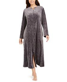 Women's Brocade Micro Fleece Long Zipper Robe