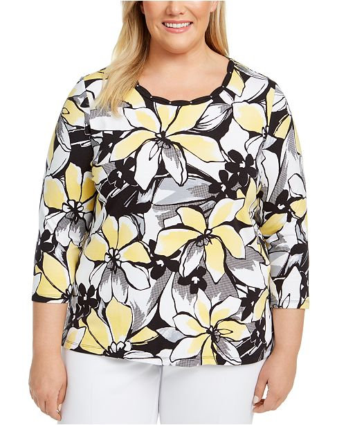 Alfred Dunner Plus Size Riverside Drive Braided-Trim Top