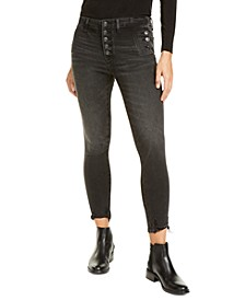 Marley Exposed-Button Skinny Jeans