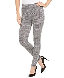 INC Women's Glen Plaid Leggings with Control Waistband, Created For Macy's