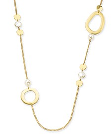 "Disc, Imitation Pearl & Link Strand Necklace, 44"" + 2"" extender, Created For Macy's"
