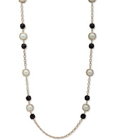 "Gold-Tone Stone & Imitation Pearl 42"" Strand Necklace"