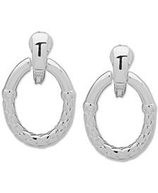 Silver-Tone Basket Weave Textured Doorknocker Clip-On Drop Earrings