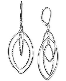 Silver-Tone Diamond-Texture Orbital Drop Earrings