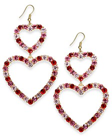 Gold-Tone Pavé Double-Heart Drop Earrings, Created For Macy's