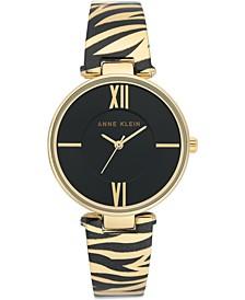 Women's Gold-Tone Animal Print Bangle Bracelet Watch 34mm